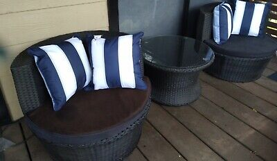 AU299.99 • Buy 3 Piece Rattan Outdoor Setting In Black - 2 Chairs And Table - Stackable