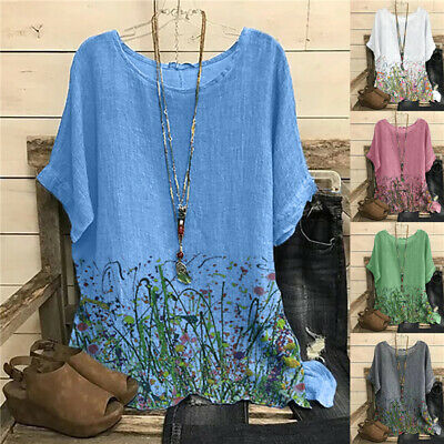 £8.99 • Buy UK Women Summer Floral Cotton Linen Tops Blouse Casual Loose T Shirt Tunic Tee