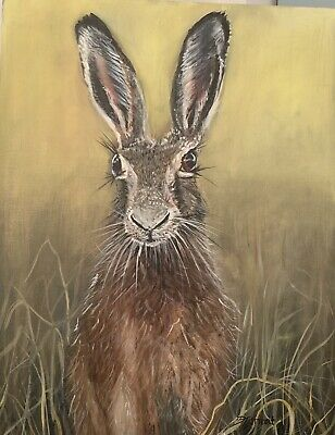 £360 • Buy Hare Portrait Rabbit Hunting  Oil On Canvas