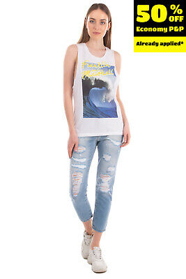 £0.99 • Buy FRANKLIN & MARSHALL Vest Top Size XS Wave Print Front Round Neck Made In Italy