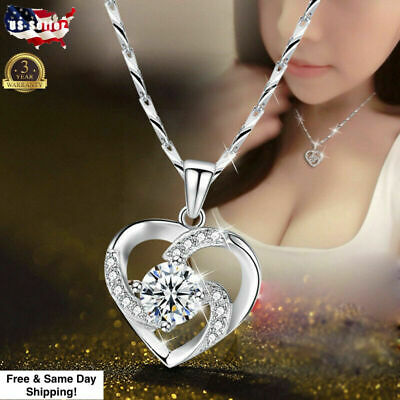 $3.99 • Buy Gorgeous 925 Silver Necklace Pendant For Women Cubic Zircon Jewelry