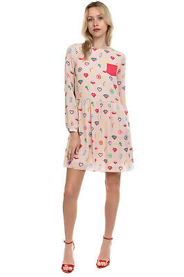 AU20.27 • Buy RRP €240 ICE PLAY Crepe Blouson Dress Size 40 / S Symbol Print Made In Portugal