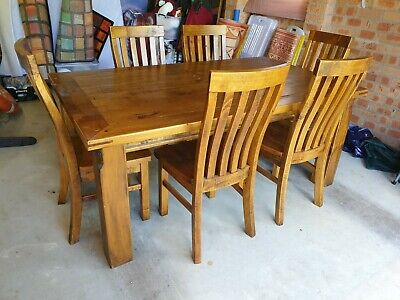 AU550 • Buy Wood Dining Table, Chairs, Buffet...8 Pieces