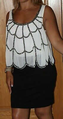 £14 • Buy Lipsy Black Layered Dress With Cream Sheer Beaded Frill Detail - Size 12 14