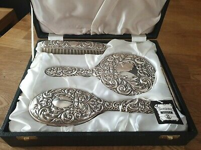 £85 • Buy Broadway & Co Cased  Silver Dressing Table Set, Fully Marked. Birmingham 1979