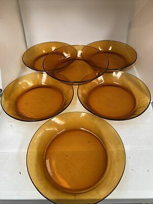 £6.99 • Buy Set Of 6 Amber Glass Deep  Side Plates 1960/70s France 19.5 Cms
