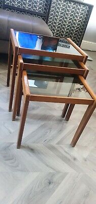 £25 • Buy Teak Smoked Glass Nest Of Tables