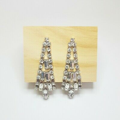 £5 • Buy White Metal Chandelier Earrings With Large Clear Gems