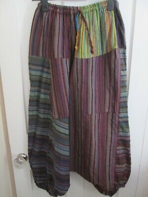 £12.99 • Buy Indian Cotton Multi Coloured Striped Harem Trousers M
