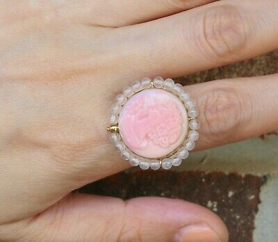 $248.20 • Buy M+M Scognamiglio Italy Pink Shell Cameo 14K Yellow Gold Ring W/ Box ~ Size 6.5