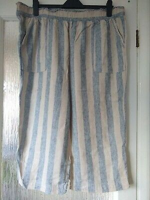 £5 • Buy TU Ladies Striped Linen Cropped Trousers Size 20