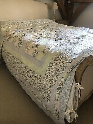 £45 • Buy Gorgeous Huge Patchwork Quilted Ditsy Ticking Blanket Throw Quilt King Size