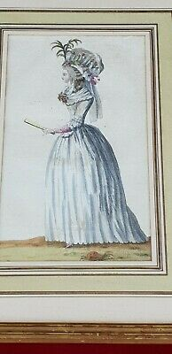 £12 • Buy 18th Century French Coloured Engraving/gravure, Fashion Lady, Gilded Frame