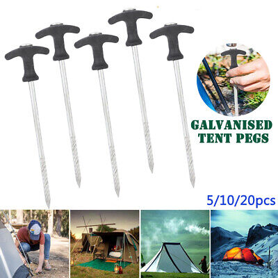 AU15.99 • Buy 5pcs Tent Pegs Heavy Duty Screw Steel In Ground Camping Stakes Outdoor Nail