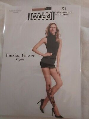 £3.10 • Buy Wolford Russian Flower Tights, Gobi/black, Extra Small, Slightly Imperfect