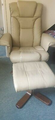 £50 • Buy Cream Leather Chair And Foot Stool