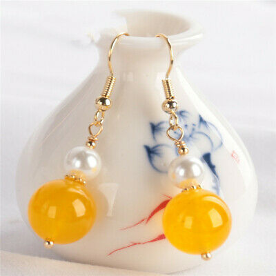 $3.69 • Buy 12MM Yellow Chalcedony Pearl Earring 18KGP Dangle Holiday Gifts Party Real