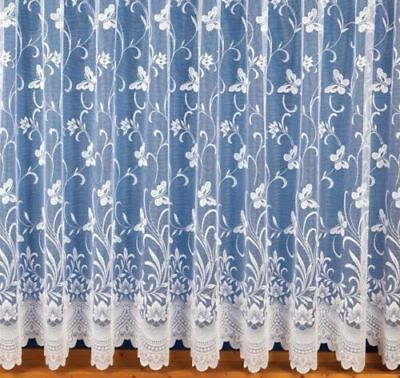 £3.75 • Buy BUTTERFLY DESIGN WHITE NET CURTAINS ANY SIZE DROPS: 25 -72  X WIDTH: 1-5 METRES
