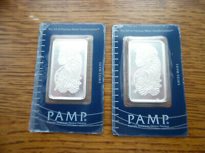 £80.91 • Buy 2 Lot 1 Oz Each Pamp Suisse Lady Fortuna .999 Fine Silver Bar Classic In Assay
