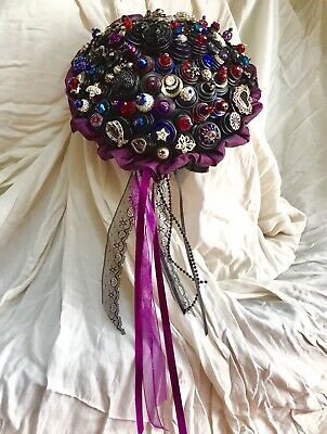 £45 • Buy Handmade Black Gothic Wedding Bouquet, Vintage Buttons, Brooch. Crystals.