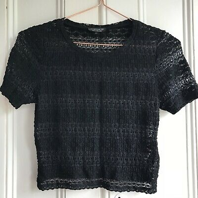 £3.99 • Buy Topshop Black Lace Tshirt Crop Top Size 12 Jersey Stretch Blouse Tee Crochet