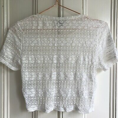£3.99 • Buy Topshop White Lace Tshirt Crop Top Size 12 Jersey Stretch Blouse Tee Crochet