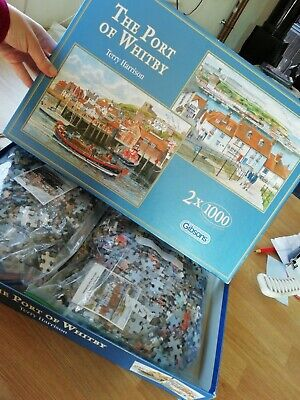 £15 • Buy Gibson 2 X 1000 Piece Jigsaws - The Port Of Whitby By Terry Harrison