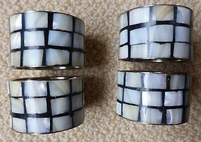 £8.99 • Buy 4 Mother Of Pearl Effect And Stainless Steel Napkin Rings