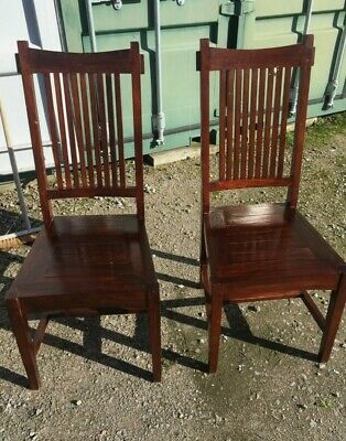 £110 • Buy 2x Lombok Malang Dining Table Chairs Dark Indonesian Solid Teak Wood