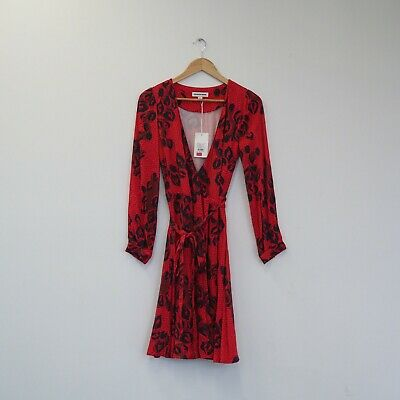 AU45 • Buy Country Road Floral Red Wrap Dress. Size 10.