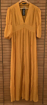 £14.50 • Buy Boohoo Woven Button Front Maxi Dress Mustard Size 14 BNWT RRP £26