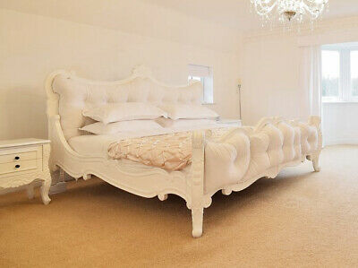 £450 • Buy White Rococo French Super King Wooden Bed Natural Wool Velvet Latex Mattress