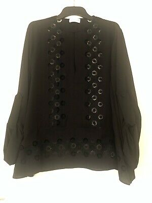 AU75 • Buy SCANLAN THEODORE Silk Lace Panel Blouse - Black, Size ML. New Without Tag!