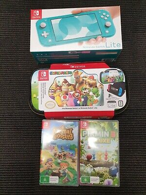 AU152.50 • Buy Nintendo Switch Lite 32GB Handheld Console - Turquoise W/ 2 X Games And Case