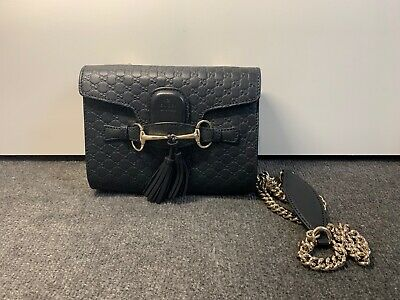 AU950 • Buy Authentic Gucci Mini Emily GG Leather Chain Cross Body Bag