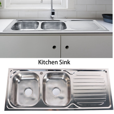 £102.80 • Buy Stainless Steel 2 Bowl Double Kitchen Sink Reversible Drainer Inset 120x50cm