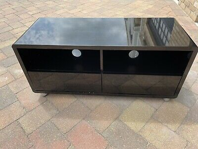 £10.50 • Buy 103cm Modern TV Unit Cabinet Stand High Gloss Black With Drawers