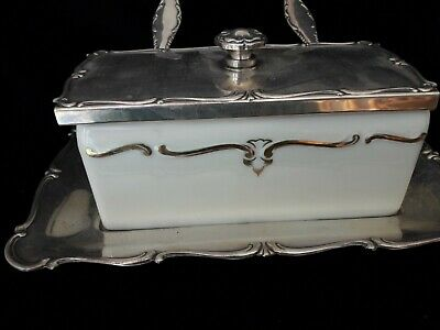 £49 • Buy Rosenthal Wellner Antique Porcelain And Silver Plate Marmelade Container 1910 Wi