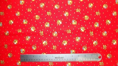 £6.50 • Buy Fabric Christmas Holly Bells 112cm Wide By Nutex 100% Cotton Red