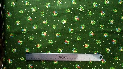 £6.50 • Buy Fabric Christmas Holly Bells 112cm Wide By Nutex 100% Cotton Green