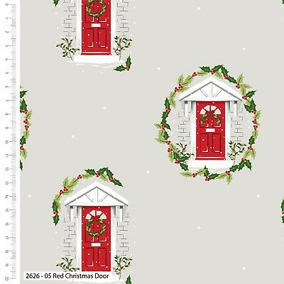£5.40 • Buy Fabric Christmas Red Door Traditional 112cm Wide #2626-05 100% Cotton