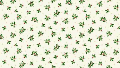 £5.40 • Buy Fabric Christmas Holly 112cm Wide #1976/1 By Makower 100% Cotton White