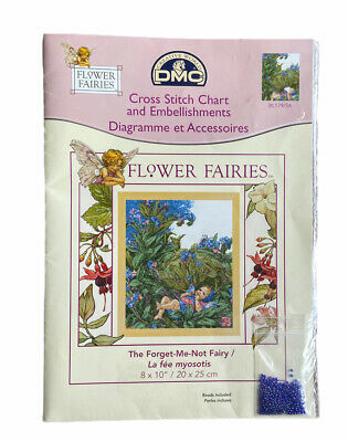 £15 • Buy DMC The Cross Stitch Chart And Embellishments Flower Fairies Forget Me Not Fairy