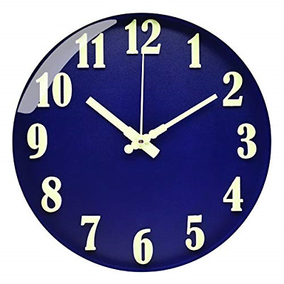 £34.05 • Buy BECANOE Luminous Wall Clocks 12 Inch Blue Non Ticking Silent Large 3D Stereo To