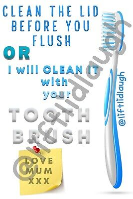 £4.99 • Buy Lift Lid Laugh Toilet Humour A4 Stickers Funny Gift Toothbrush