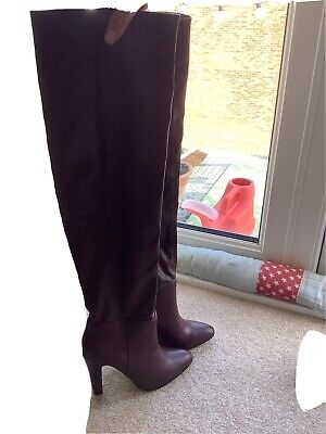 £20 • Buy WALLIS Ladies Leather Burgundy Over The Knee High Boots Size 4