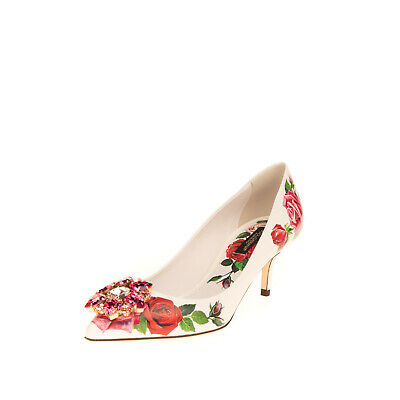 £55 • Buy RRP€770 DOLCE & GABBANA Leather Court Shoes EU 36.5 UK 3.5 US 6.5 Tropical Rose