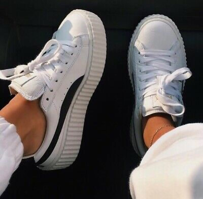 AU200 • Buy BRAND NEW Authentic Fenty Puma Women's Creeper Sneakers In 'White Leather'