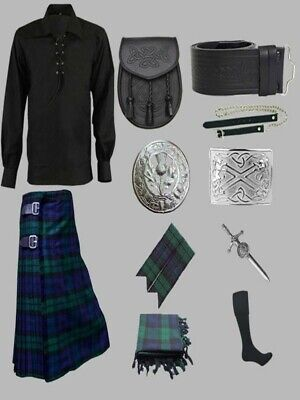 £80 • Buy New Great Scottish Black Watch Informal Kilt Outfit 10 Pieces For Men