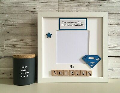£25 • Buy (b) Scrabble Picture Photo Frame Personalised Super Teacher/Hero Thank You Gift